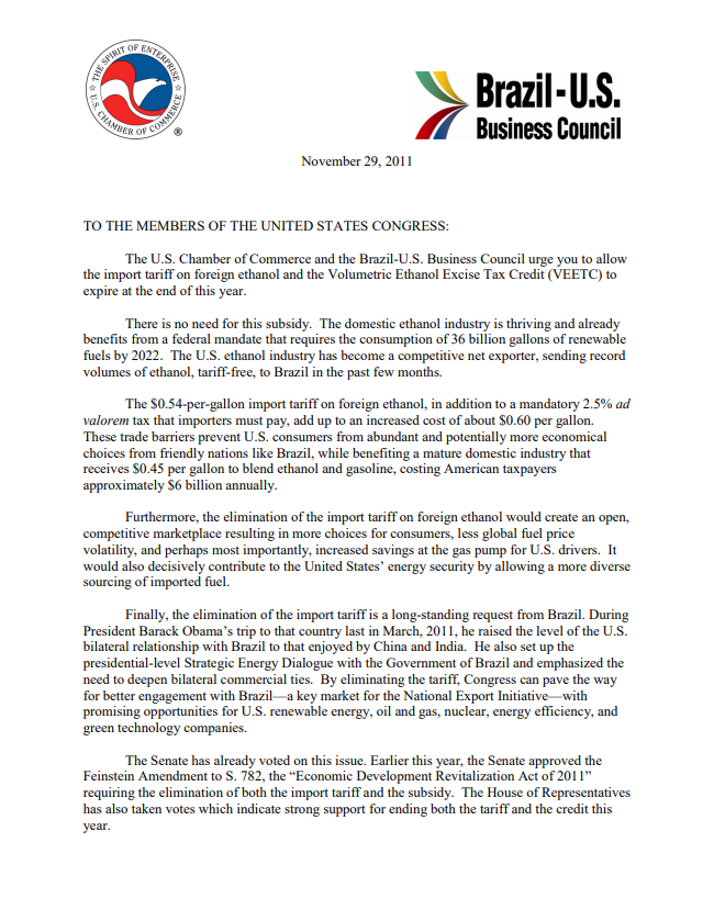 Letter from U.S. Chamber of Commerce & Brazil-US Business Council Urging to Allow Ethanol Tariff and Credit to Expire