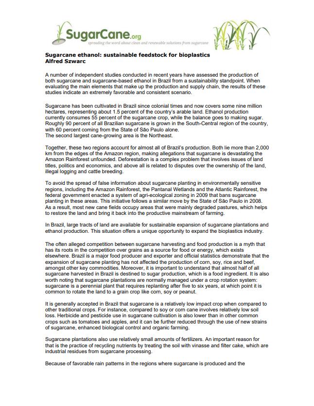 Sugarcane ethanol: sustainable feedstock for bioplastics