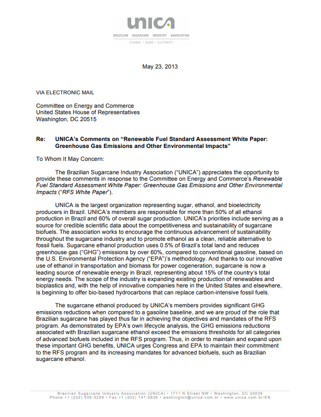 UNICA's Comments on the Renewable Fuel Standard Assessment White Paper: Greenhouse Gas Emissions and Other Environmental Impacts