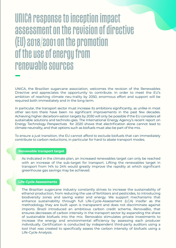 UNICA response to inception impact assessment on the revision of directive (EU) 2018/2001 on the promotion of the use of energy from renewable sources