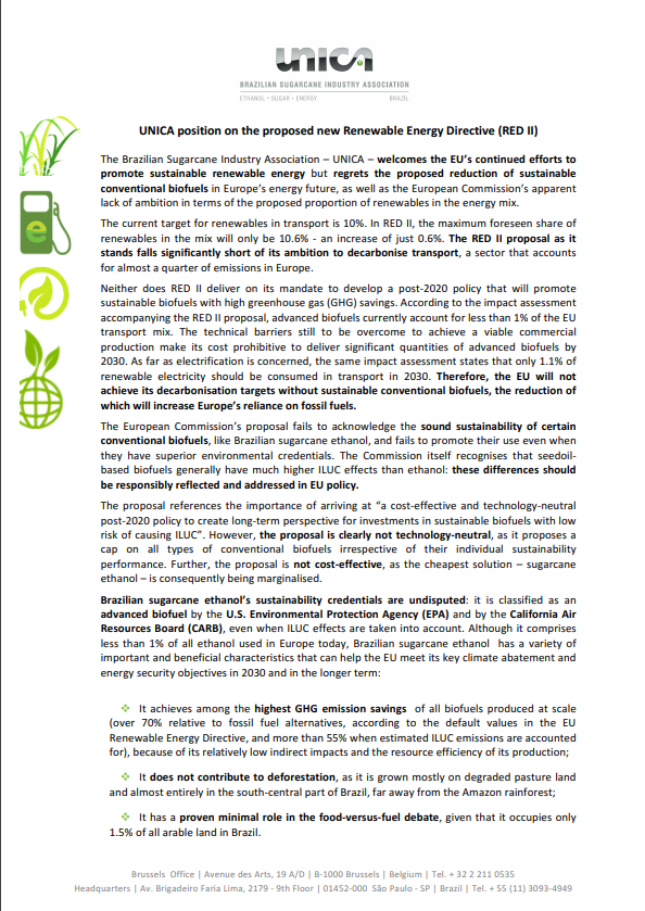 UNICA position on the proposed new Renewable Energy Directive (RED II)