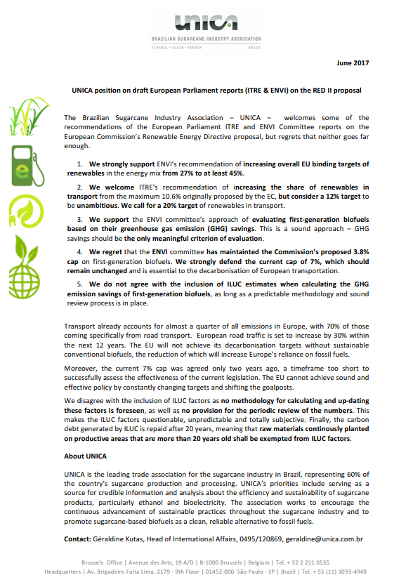 UNICA position on draft European Parliament reports (ITRE & ENVI) on the RED II proposal