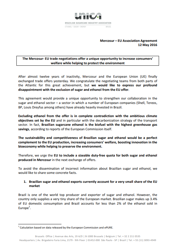UNICA's position paper on Mercosur-EU trade negotiations