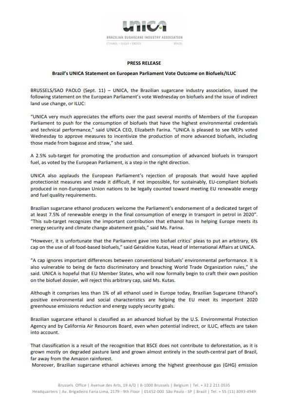 Brazil's UNICA Statement on European Parliament Vote Outcome on Biofuels/ILUC
