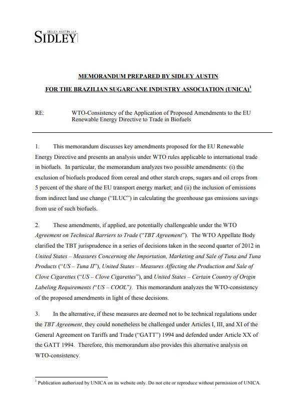 WTO-Consistency of the Application of Proposed Amendments to the EU Renewable Energy Directive to Trade in Biofuels
