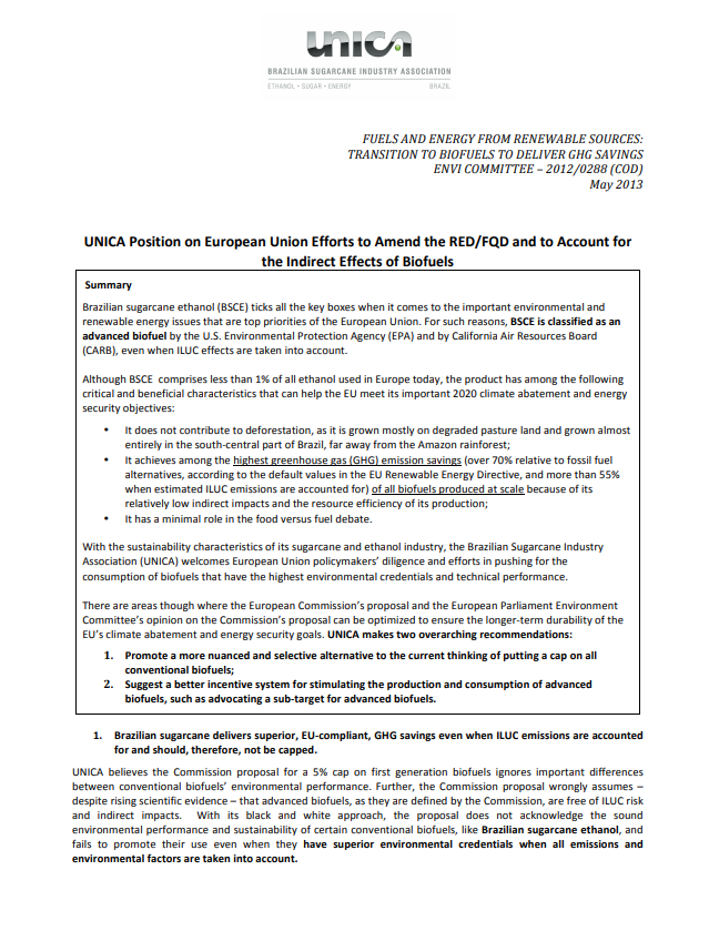 UNICA Position on European Union Efforts to Amend the RED/FQD and to Account for the Indirect Effects of Biofuels