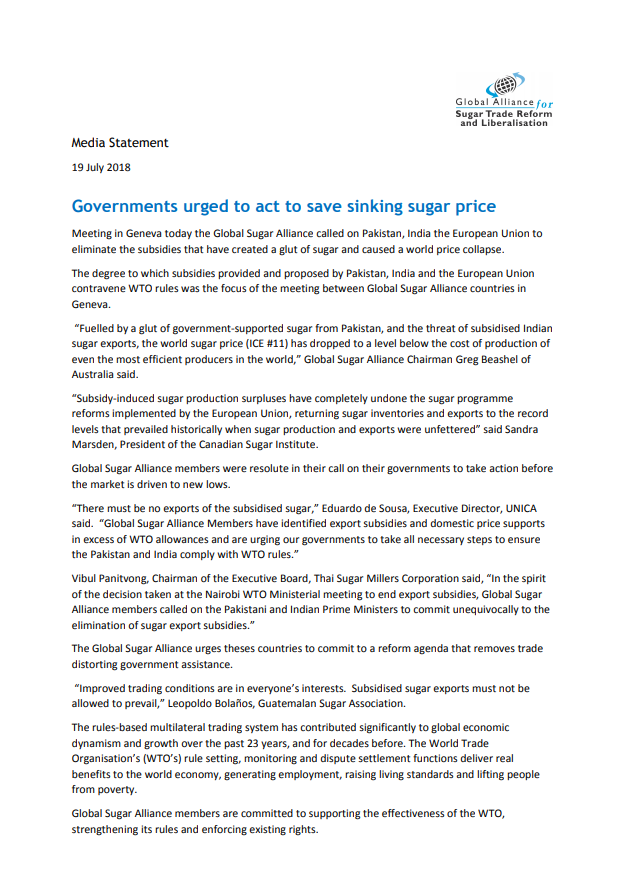 Governments urged to act to save sinking sugar price