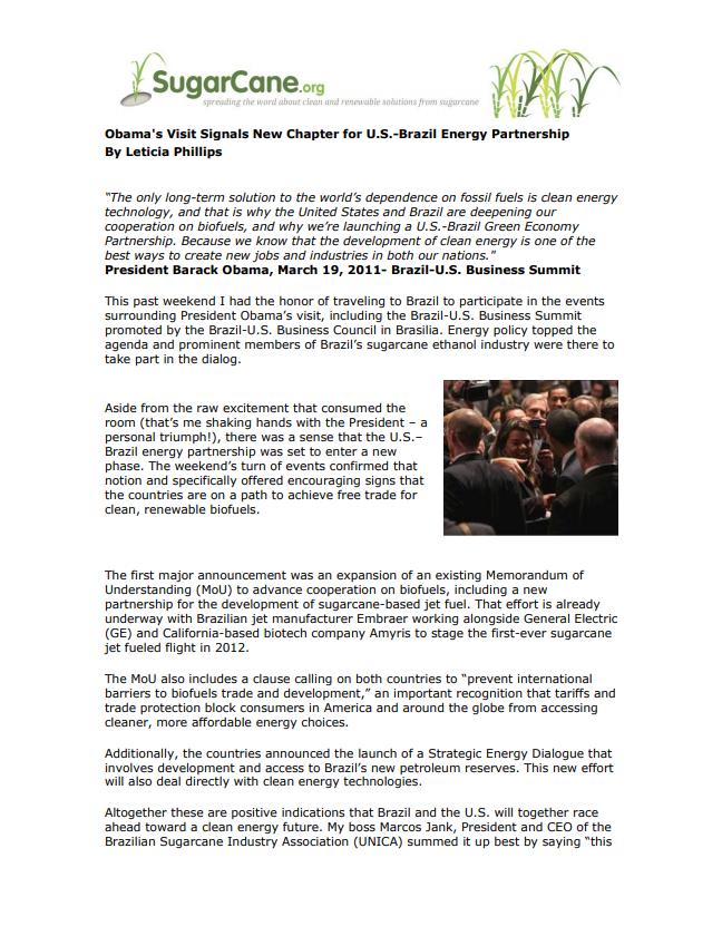 Obama's Visit Signals New Chapter for U.S.-Brazil Energy Partnership