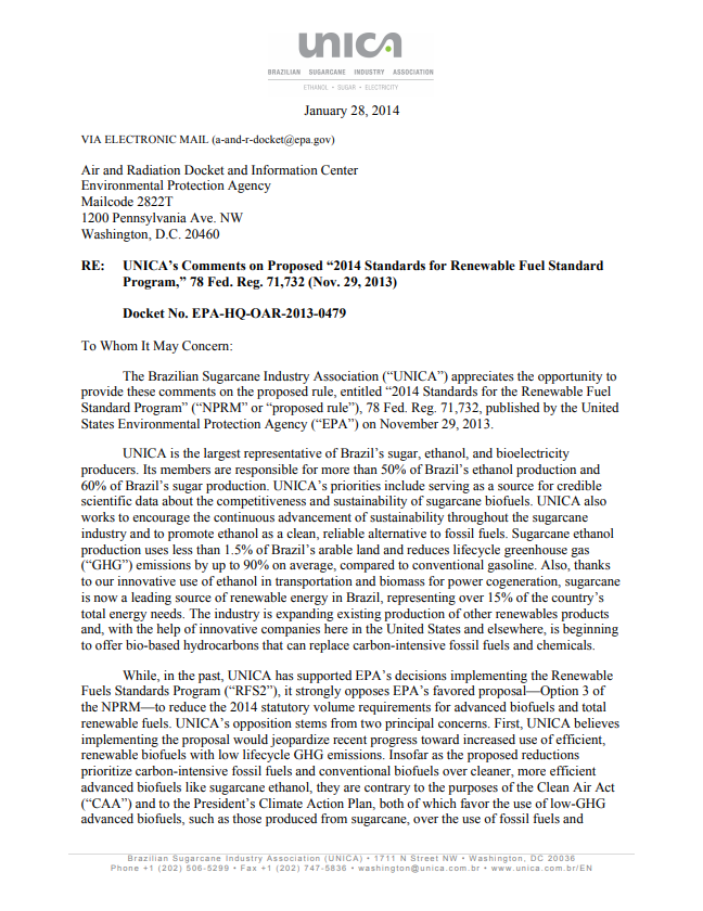 UNICA's Comments to EPA on Proposed 2014 Renewable Fuel Standards