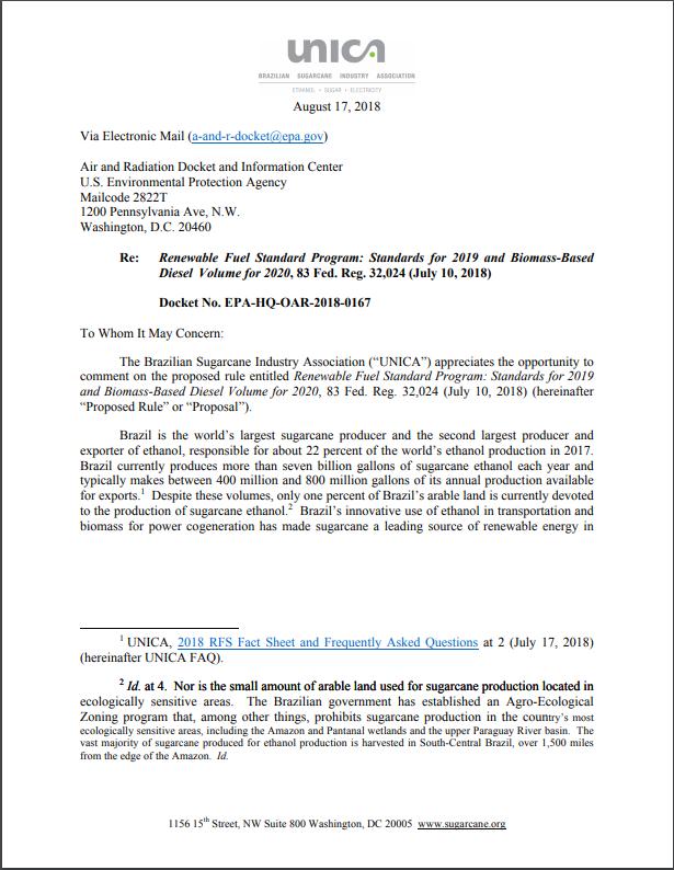UNICA's Comments on 2019 Renewable Fuel Standard Program