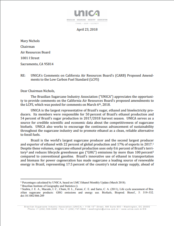 UNICA's Comments on California Air Resources Board's (CARB) Proposed Amendments to the Low Carbon Fuel Standard (LCFS)