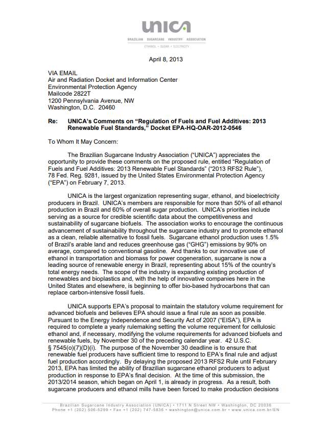 """UNICA's Comments on """"Regulation of Fuels and Fuel Additives: 2013 Renewable Fuel Standards"""