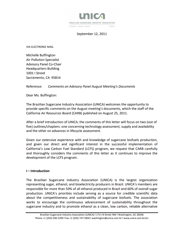 UNICA's Comments to CARB: Comments on Advisory Panel August Meeting's Documents